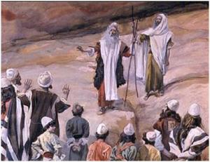 Korah challenging Moses, Aaron