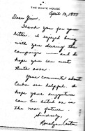 Letter to Jones from Rosalyn Carter